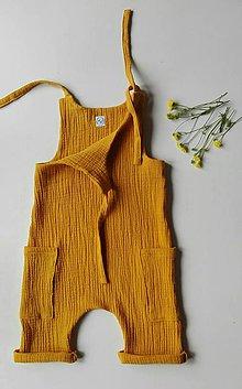 Detské oblečenie - Nohavice na traky (Horčicová) - 12138911_