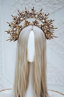 Ozdoby do vlasov - Zlatá Halo crown s filigránmi a kvetinami - 12137580_