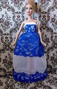 Hračky - Šaty s modrou čipkou pre BÁRBIE - 12138180_