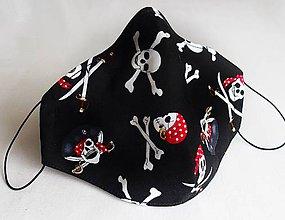 Rúška - Anatomické dizajnové rúško - Pirátske lebky - 12138857_