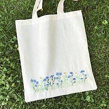 Nákupné tašky - Bavlnená taška s lúčnymi kvetmi - 12138529_