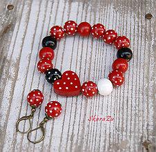 Sady šperkov - Bodkovaný náramok so srdiečkom + náušničky - 12138302_