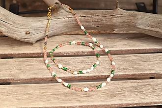 Sady šperkov - Súprava náhrdelníku a náramku na nohu z minerálov - 12137531_