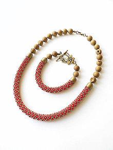 Sady šperkov - Červeno-bronzový perličkový set s korálkami z achátových drúz - 12137269_