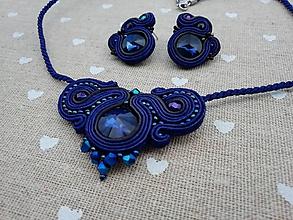 Sady šperkov - Modro-čierna folk sada - 12141568_
