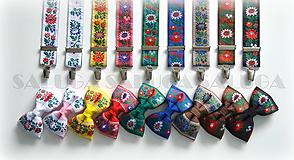 Doplnky - Folklórny motýlik a traky - rôzne farby - 12140336_