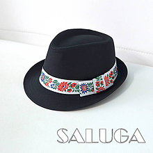Čiapky - Folklórny klobúk - čierny - ľudový - biela folklórna stuha - 12141355_