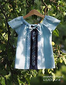 Detské oblečenie - Detské šatočky alebo košieľka MODROTLAČ/ľan - 12140393_