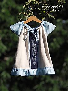 Detské oblečenie - Detské šatočky MODROTLAČ/ľan s volánikom 1. - 12140520_