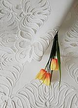 Úžitkový textil - Richelieu - Listy v tvare kvetu, biela, 35 x 101 cm - 12140364_