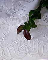 Úžitkový textil - Richelieu - Listy v tvare kvetu, biela, 35 x 101 cm - 12140366_
