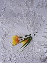 Úžitkový textil - Richelieu - Listy v tvare kvetu, biela, 35 x 101 cm - 12140370_