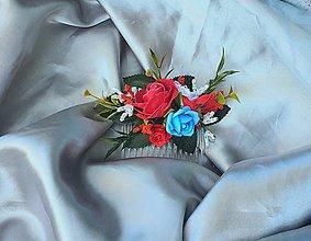 Ozdoby do vlasov - Folklórny kvetinový hrebienok - 12139298_