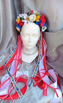 Ozdoby do vlasov - Parta z poľných kvetov s folklórnými stuhami - 12139517_