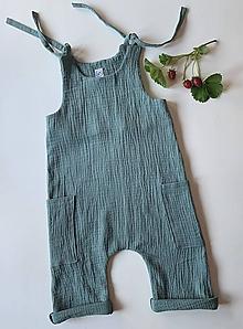 Detské oblečenie - Nohavice na traky (Smrekovo-zelené) - 12142261_