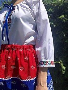 Košele - Folklórna blúzka Lojzka s 3/4 rukávom - 12141598_