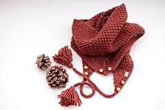 Šatky - Dámska šatka ZARA - ZĽAVNENÉ, s korálkami a brmbolcami, bordová, 100% merino - 12140929_