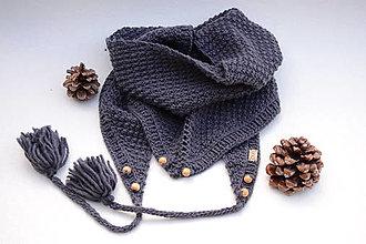 Šatky - Dámska šatka ZARA s korálkami a brmbolcami, šedá, 100% merino - 12140932_