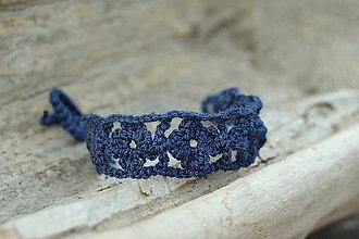 Náramky - * Háčkovaný náramok * (Modrá) - 12141370_