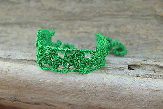 Náramky - * Háčkovaný náramok * (Zelená) - 12141384_