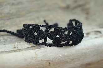 Náramky - * Háčkovaný náramok * (Čierna) - 12141399_