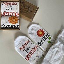 Obuv - Maľované ponožky pre naj PANI UČITEĽKU (kvietkovej triedy) - 12142270_