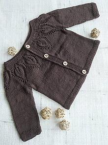 Detské oblečenie - Pletený svetrík s lístočkami - hnedý - 12141703_