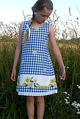 Detské oblečenie - Šatočky Margarétky v modrej kocke - 12143783_