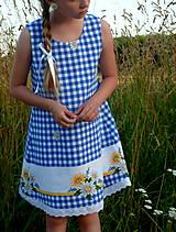 Detské oblečenie - Šatočky Margarétky v modrej kocke - 12143784_