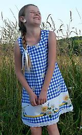 Detské oblečenie - Šatočky Margarétky v modrej kocke - 12143791_
