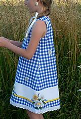 Detské oblečenie - Šatočky Margarétky v modrej kocke - 12143811_