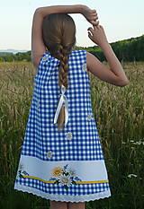Detské oblečenie - Šatočky Margarétky v modrej kocke - 12143812_