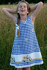 Detské oblečenie - Šatočky Margarétky v modrej kocke - 12143820_