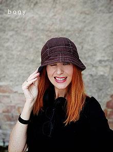 Čiapky - Unisex klobouk na jaro/léto - 100%LEN čokoláda - 12143075_