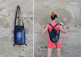 Kabelky - 3v1 - recy džínový batoh, kabelka nebo koš - 12143161_