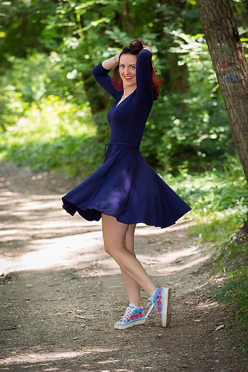 Šaty - Bambusové šaty modré Ariel - 12144878_