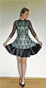 Šaty - Čierne saténové šaty s čipkou - 12144892_