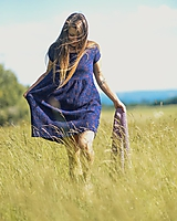 Šaty - Modré kytkované - 12143400_