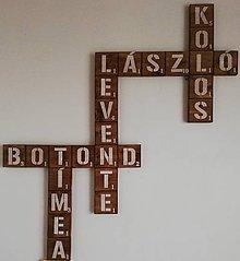 Tabuľky - Scrabble -  drevené  písmenká - orech - 12146186_