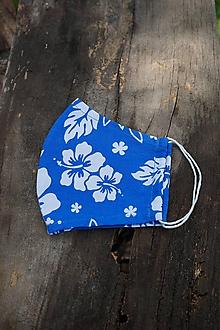 Rúška - Rúško modré, biely kvet - 12147445_