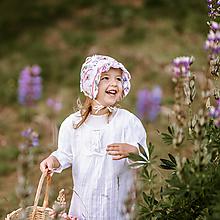 Detské čiapky - Čepiec 100% ľan kvety - 12148154_