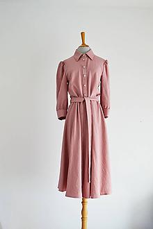 Šaty - Košeľové viskózové šaty s viazaním v páse - ružovkasté - 12148024_