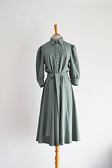Šaty - Košeľové viskózové šaty s viazaním v páse - zelenkavé - 12148043_