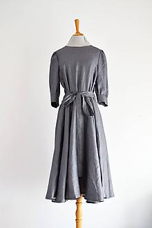 Šaty - Ľanovo-viskózne šaty s viazaním v páse - tmavošedé - 12148068_