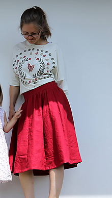 Sukne - sukně.červený len - 12149385_