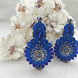 Náušnice - Kráľovská modrá nielen pre kráľovnú (šujtášové náušnice,povodna cena 32€ ) - 12150695_