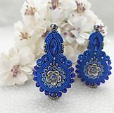 Náušnice - Kráľovská modrá nielen pre kráľovnú (šujtášové náušnice,povodna cena 32€ ) - 12151307_