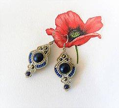 Náušnice - Macramé náušnice Lapis lazuli - 12150913_