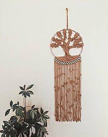 Dekorácie - Macramé strom života hnedý - 12149685_