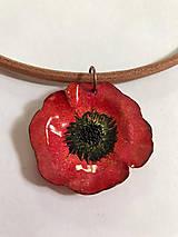 Náhrdelníky - Smaltovaný náhrdelník vlčí mák - 12150520_